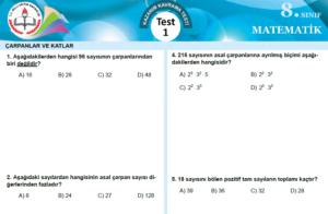 8.Sınıf Matematik MEB Kazanım Testleri