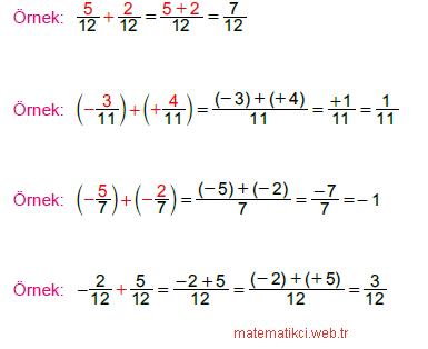 Rasyonel Sayılarla Toplama ve Çıkarma İşlemleri-Örnek1