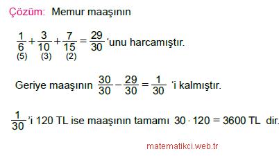 Rasyonel Sayılarla Problemler