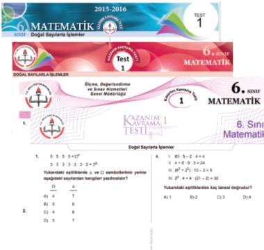 6.Sınıf Matematik MEB Kazanım Testleri