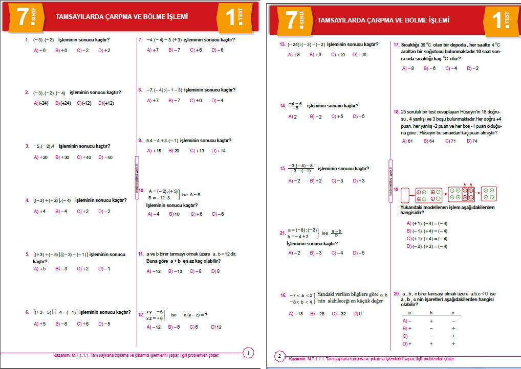7.Sınıf Tamsayılarda çarpma-bölme testi indir