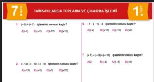 7.Sınıf Matematik Yaprak Testi indir