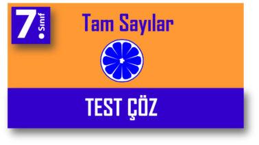7.Sınıf Tam Sayılarla Çıkarma Testi Çöz