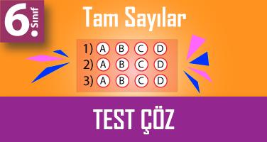 6.Sınıf Tam Sayılar Testi Çöz